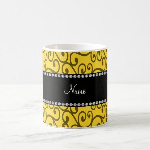 Personalized name yellow swirls coffee mugs