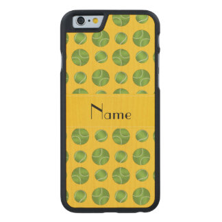 Personalized name yellow tennis balls pattern carved maple iPhone 6 case