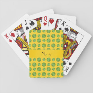 Personalized name yellow tennis balls pattern playing cards