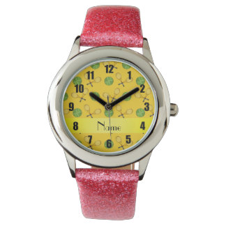 Personalized name yellow tennis balls watch