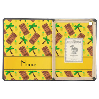 Personalized name yellow tiki pineapples palm tree cover for iPad air