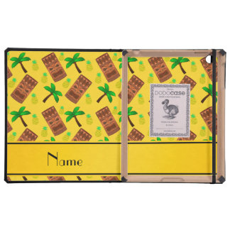 Personalized name yellow tiki pineapples palm tree case for iPad