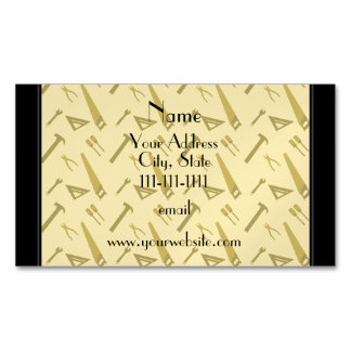Personalized name yellow tools pattern magnetic business cards