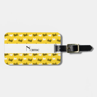 Personalized name yellow train pattern luggage tag