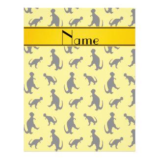 Personalized name yellow trex dinosaurs 21.5 cm x 28 cm flyer