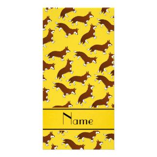 Personalized name yellow welsh corgi cardigan dogs custom photo card