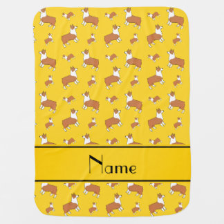Personalized name yellow Welsh corgi pembroke dogs Receiving Blankets