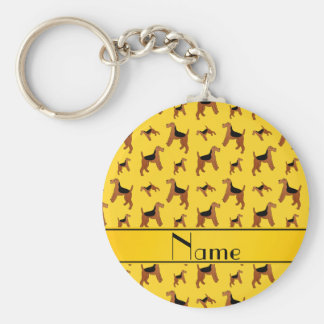 Personalized name yellow Welsh Terrier dogs Basic Round Button Key Ring