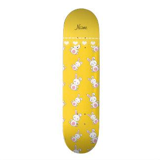 Personalized name yellow white bunnies skateboard deck