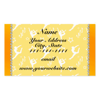 Personalized name yellow white gymnastics stars pack of standard business cards