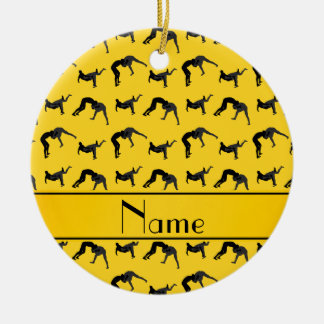 Personalized name yellow wrestling silhouettes round ceramic decoration