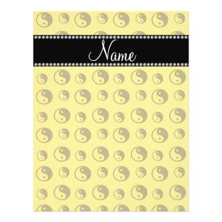 Personalized name yellow ying yang pattern 21.5 cm x 28 cm flyer