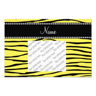 Personalized name yellow zebra stripes photo art
