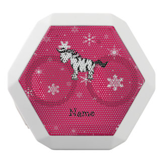 Personalized name zebra pink snowflakes white boombot rex bluetooth speaker