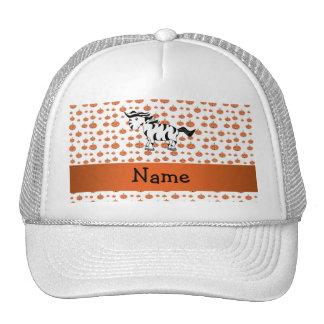 Personalized name zebra pumpkins pattern mesh hats