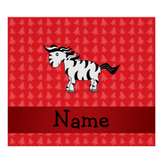 Personalized name zebra red christmas trees print