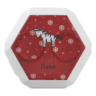 Personalized name zebra red snowflakes white boombot rex bluetooth speaker