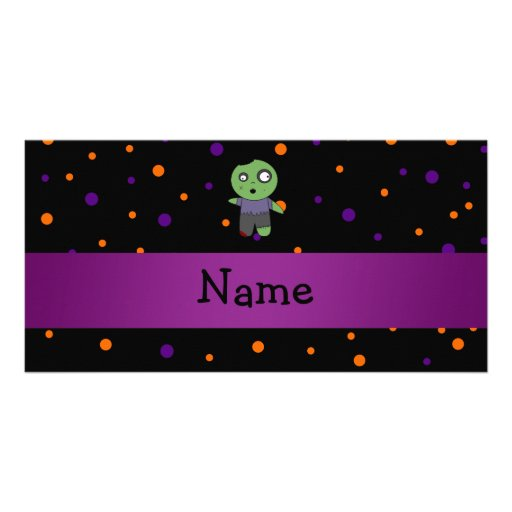 Personalized name zombie halloween polka dots patt photo cards