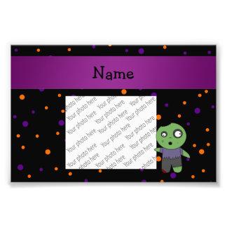 Personalized name zombie halloween polka dots photo