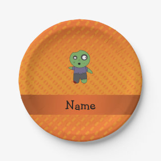 Personalized name zombie orange polka dots pattern paper plate