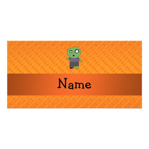 Personalized name zombie orange polka dots pattern photo cards