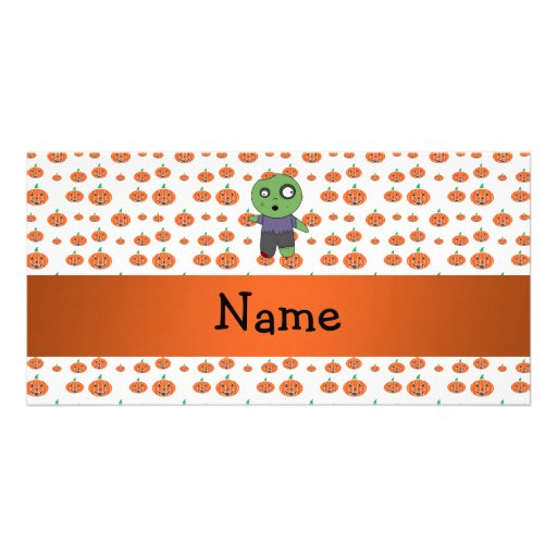 Personalized name zombie pumpkins pattern custom photo card
