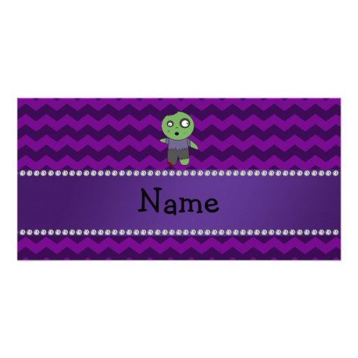 Personalized name zombie purple chevrons photo card