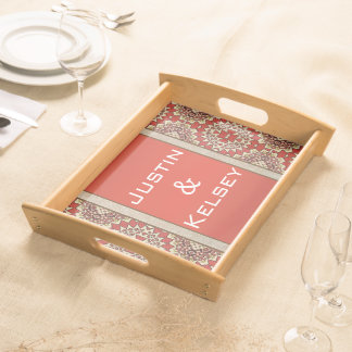 Personalized Names Geometric Pattern Serving Tray