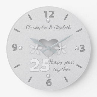 Personalized names Silver Wedding Anniversary Large Clock