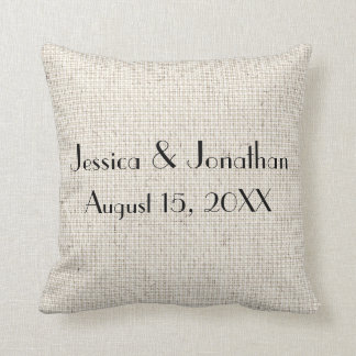 Personalized Names & Wedding Date Linen Pillow