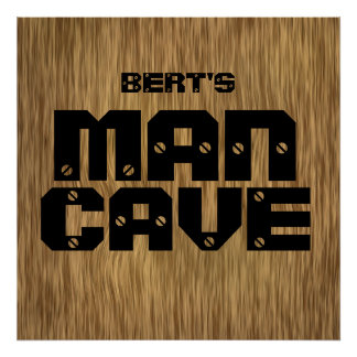 Personalized Natural Wood Man Cave Poster