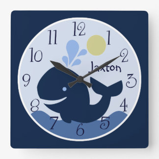 Personalized Nautical Ahoy Mate Whale Baby Clock