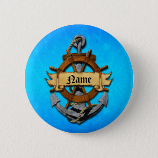 Personalized Nautical Anchor And Wheel 6 Cm Round Badge