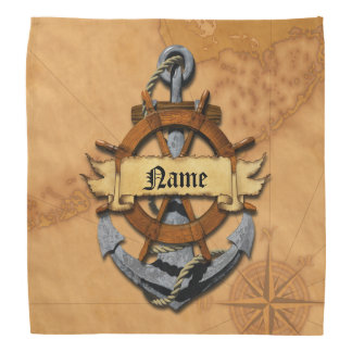 Personalized Nautical Anchor And Wheel Bandana