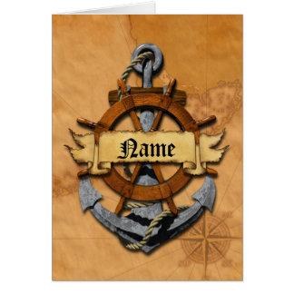Personalized Nautical Anchor And Wheel Card