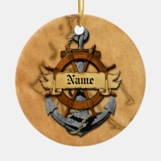 Personalized Nautical Anchor And Wheel Christmas Ornament