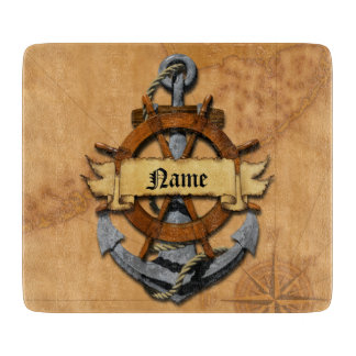 Personalized Nautical Anchor And Wheel Cutting Board