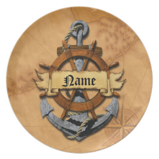 Personalized Nautical Anchor And Wheel Dinner Plate