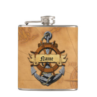 Personalized Nautical Anchor And Wheel Hip Flask