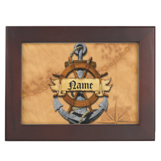 Personalized Nautical Anchor And Wheel Keepsake Box