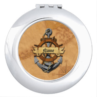 Personalized Nautical Anchor And Wheel Makeup Mirror