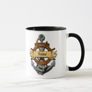 Personalized Nautical Anchor And Wheel Mug