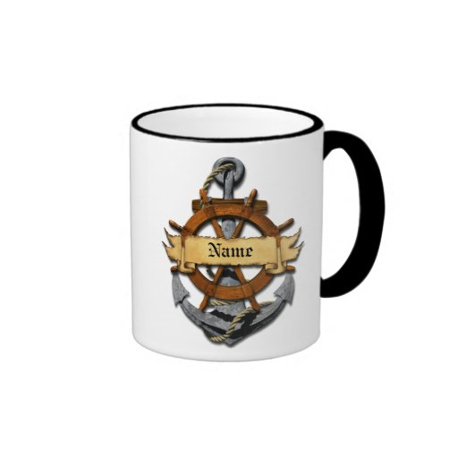 Personalized Nautical Anchor And Wheel Coffee Mugs