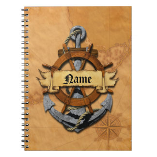 Personalized Nautical Anchor And Wheel Spiral Notebook
