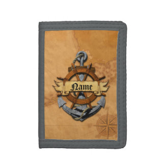 Personalized Nautical Anchor And Wheel Tri-fold Wallet