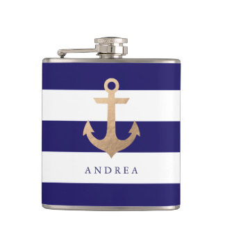 Personalized | Nautical Anchor Hip Flask