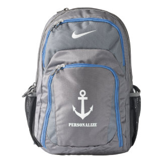 Personalized nautical anchor logo Nike backpack