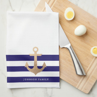 Personalized | Nautical Anchor Tea Towel