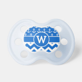 Personalized Nautical Blue Chevron Anchors Baby Pacifier