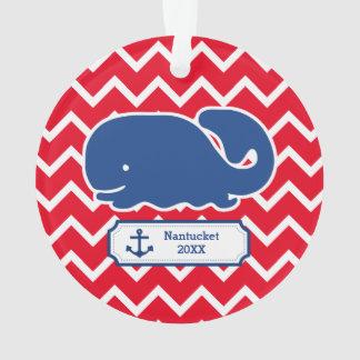 Personalized Nautical Blue Whale Anchor Chevron Ornament